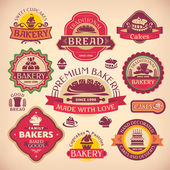 Set of vector vintage various bakery labels — Stock Vector