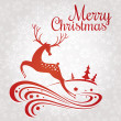 Christmas greeting card with deer — Vector de stock
