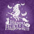 Happy Halloween greeting vector card — Stok Vektör