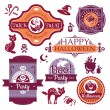 Stock Vector: Collection of Halloween labels and signs