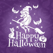 Happy Halloween greeting vector card — Stock vektor
