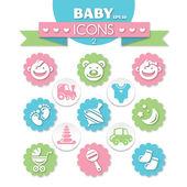 Verzameling van universele baby icons — Stockvector