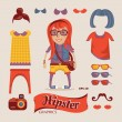 Stock Vector: Hipster pretty girl with hipster accessories