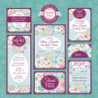 Stock vektor: Set of wedding cards