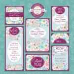 結婚式のカードのセット — ストックベクタ