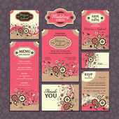 Set of wedding cards — Vector de stock