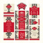 Zestaw kartek ślubnych — Wektor stockowy