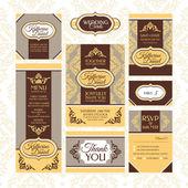 Conjunto de tarjetas de boda — Vector de stock
