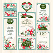 Set of wedding cards — Stock Vector