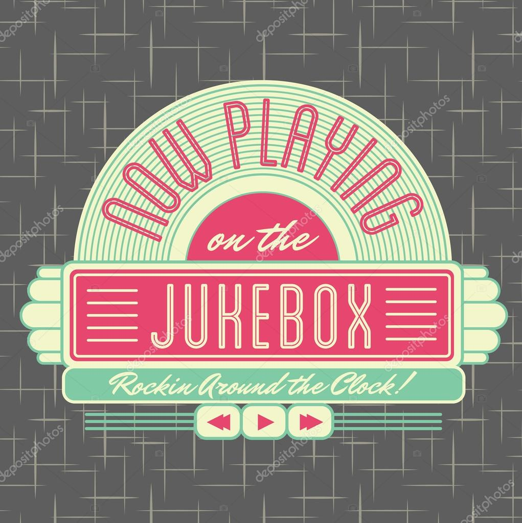 1950s Jukebox Style Logo Design Stock Vector
