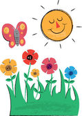 Sun, Flowers and Butterfly Children's Illustrations — Stock Vector