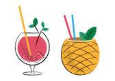 Cocktails — Vector de stock