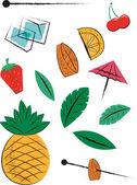 Fruit Cocktail Pieces — Vector de stock
