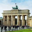 The Brandenburg Gate is the famous landmark of Berlin - 图库照片