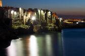 Night view of little village Polignano a mare — Stock Photo