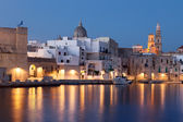 Nightview of Monopoli seaport. — Stock Photo