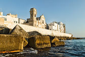 Fortified wall of  Monopoli old town. Puglia. Italy. — Foto de Stock