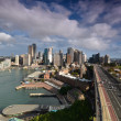 View of the business center of Sydney with the Harbour Bridge. A — Stock Photo