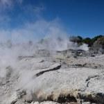 Whakarewarewa Valley of Geysers. New Zelandiiya.Geotermalny Rese — Stock Photo