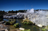 Whakarewarewa Valley of Geysers in New Zelandii.Geotermalny park — Foto de Stock