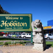 "Pointer ""Welcome to Hobbiton"". New Zealand. — 图库照片"