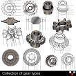 Stock Vector: Collection of gear types