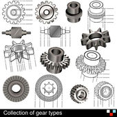 Collection of gear types — Stock Vector