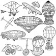 Early flying machines - Stock Vector