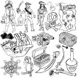 Stock Vector: Different pirate icons sketch over white background.