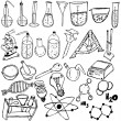 Stock Vector: Science icons sketch