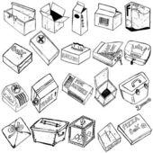 Box sketches — Stock Vector