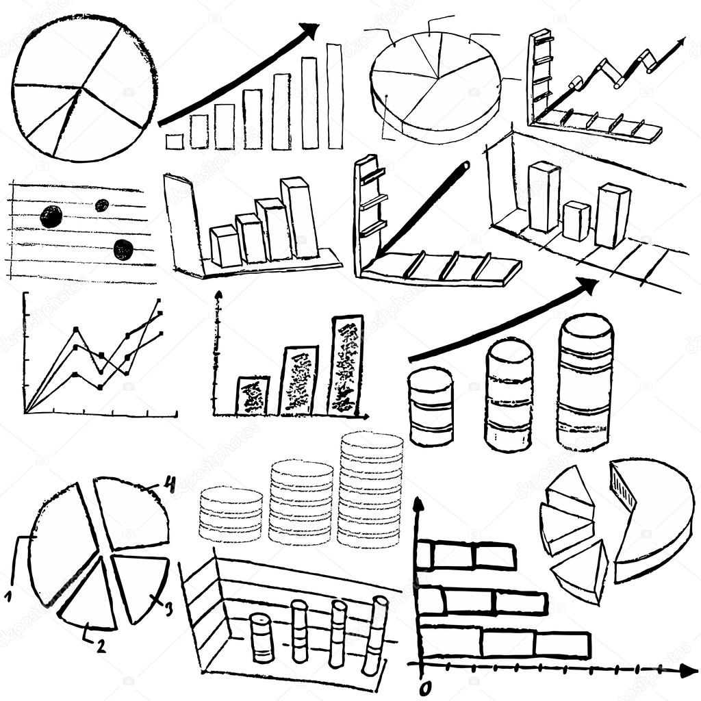 Collection of statistic graphs sketch icons over white background — Stock Vector #14587083