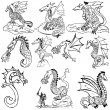 Doodle dragons - Stock Vector