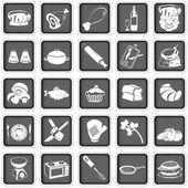 Cottura icone quadrate — Vettoriale Stock