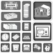 Finance banking squared icons — Image vectorielle