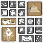 Archeology squared icons — Stock Vector