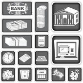 Finance banking squared icons — Stock Vector