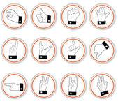 Hand button icons — Stock Vector