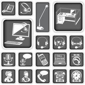 Call center squared icons — Stock Vector