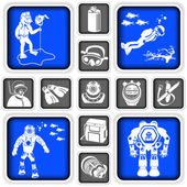 Diving squared icons — Stock Vector
