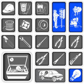 Electrician squared icons — Stock Vector
