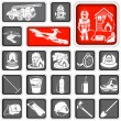 Stock Vector: Firefighter squared icons
