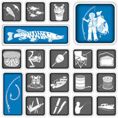 Fishing squared icons — Stock Vector