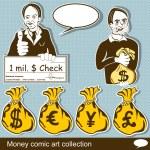 Money comic art collection — Stock Vector