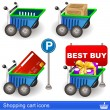 Shopping cart icons — Stock Vector