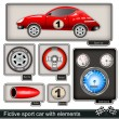 Fictive sport car with elements — Imagen vectorial