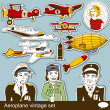 Aeropalane vintage set — Stock Vector