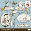 Fishing cartoon set — Imagen vectorial