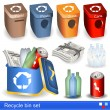 Stock Vector: Recycle bin set