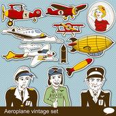 Aeropalane vintage set — Stock Vector